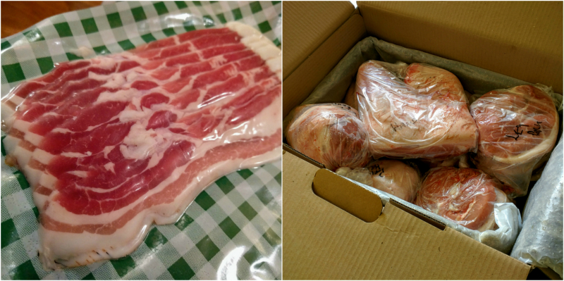 Sliced bacon and pork box